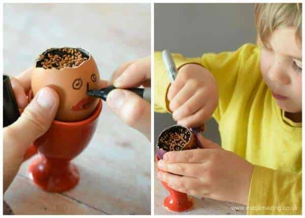 How to grow cress in egg shells - fun and easy activity with kids - decorating our shells with marker pens and googly eyes