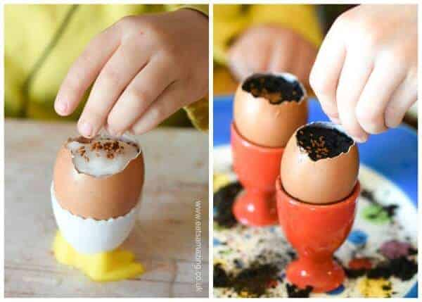 How to grow cress in egg shells - fun and easy activity with kids - planting our seeds in cotton wool and soil