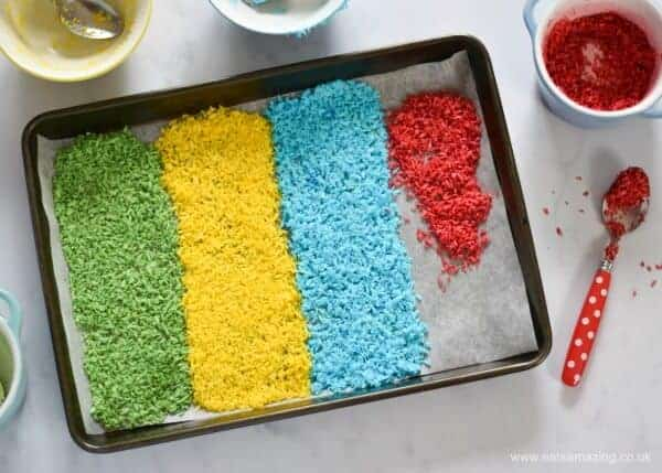 How to make homemade coconut rainbow sprinkles - easy recipe for kids from Eats Amazing UK
