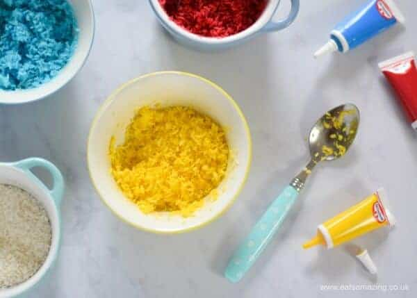 How to make homemade rainbow coconut sprinkles - easy recipe from Eats Amazing UK