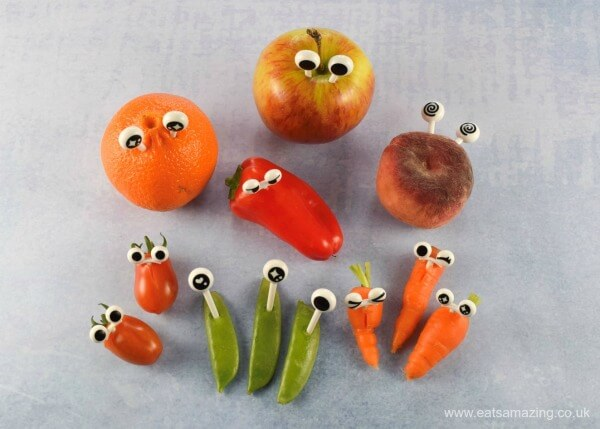 Make fun fruit and veggies with googly eye food picks from the Eats Amazing Bento UK Shop - add instant fun to food with these clever bento picks