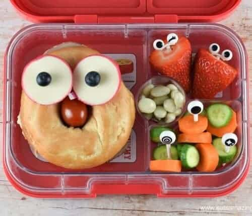 quick easy funny face bagel packed lunch idea