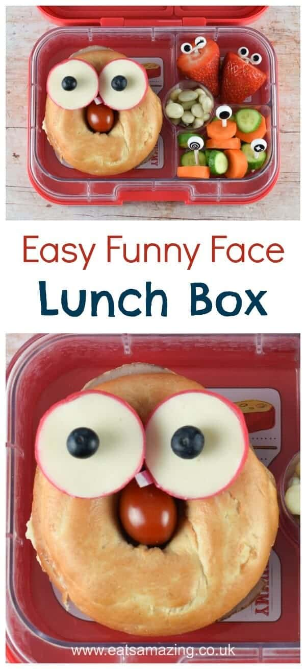 Quick and easy funny face bagel packed lunch idea - make your kids smile when they go back to school with this fun bento lunch