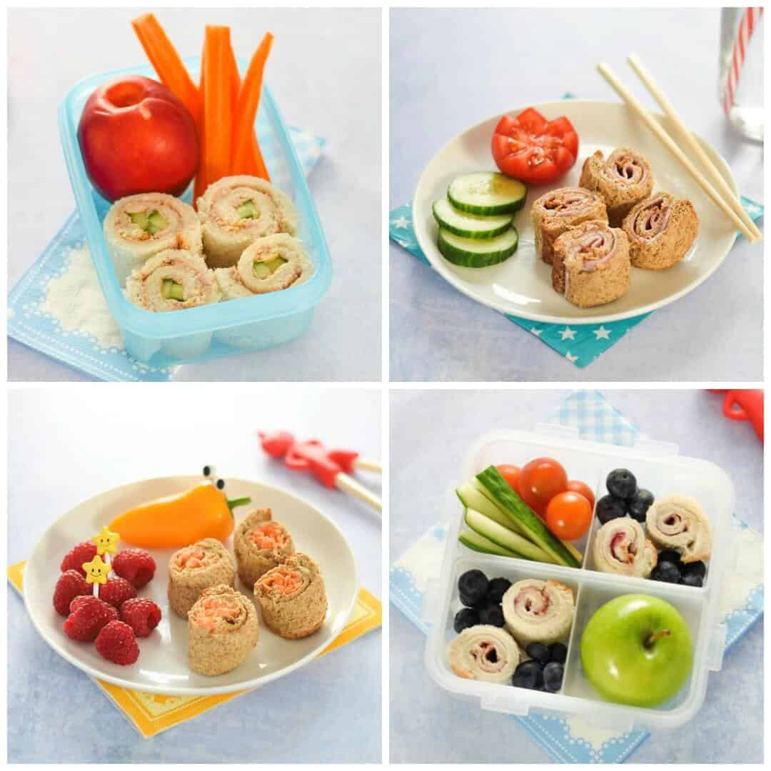 Healthy Lunch Box Ideas - 4 Fun and easy sushi sandwich roll up recipes for kids - perfect for bento boxes - Eats Amazing UK
