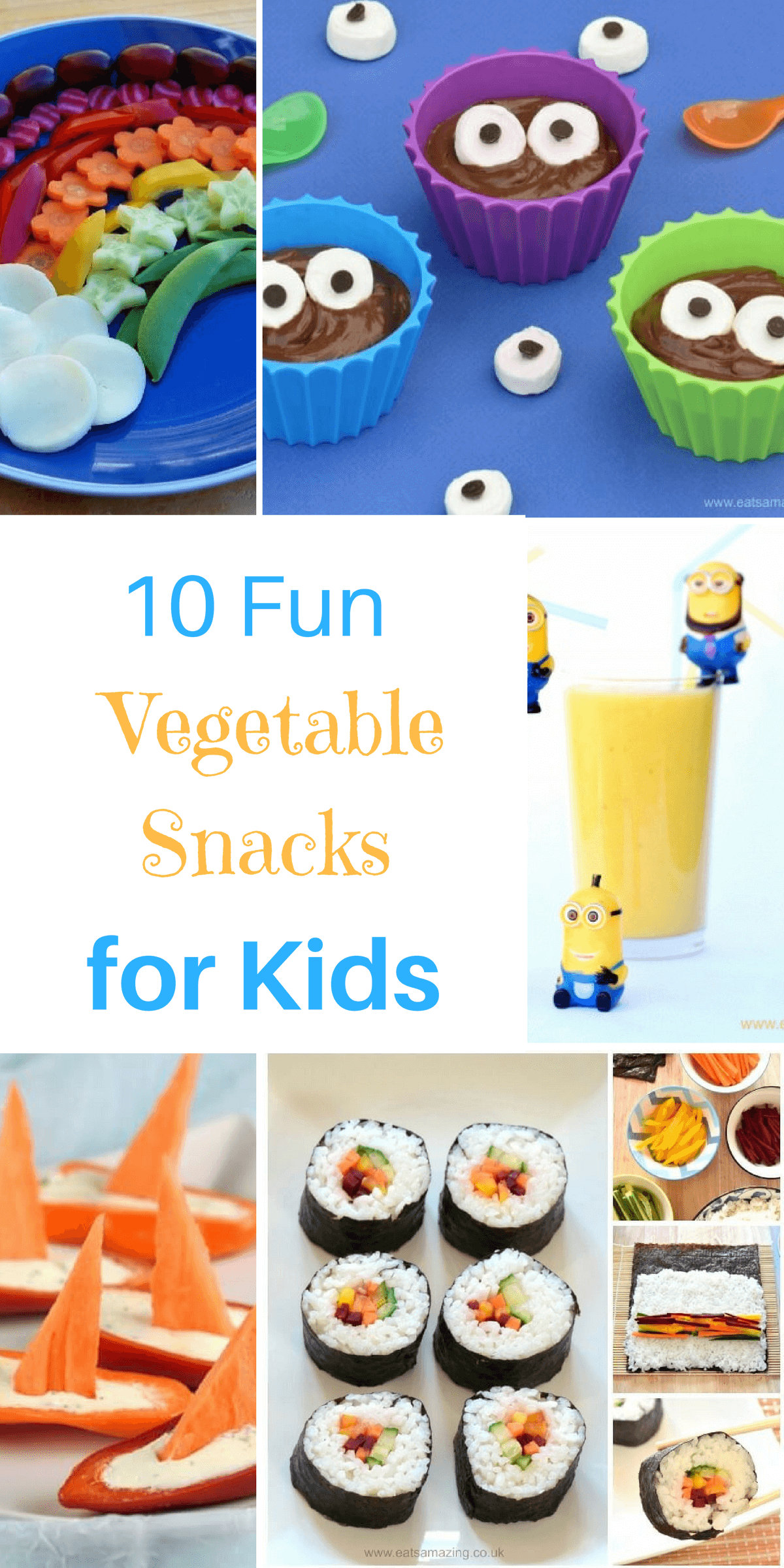 10 cute and easy fun vegetable snacks for kids - get them eating more vegetables with these brilliant fun food recipes and tutorials - Eats Amazing UK
