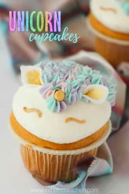 20 Awesome Unicorn Recipes for Kids! - Unicorn Cupcakes from In The Kids Kitchen