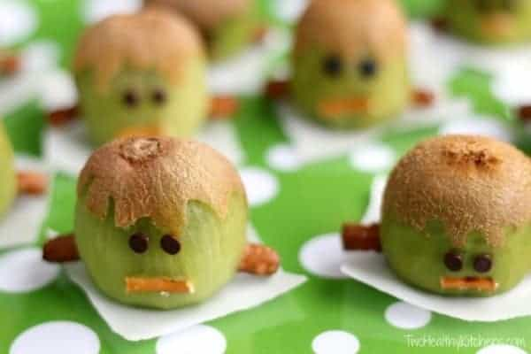 30 Healthy Halloween Party Food Ideas for Kids - Frankenstein Kiwis from Two Healthy Kitchens