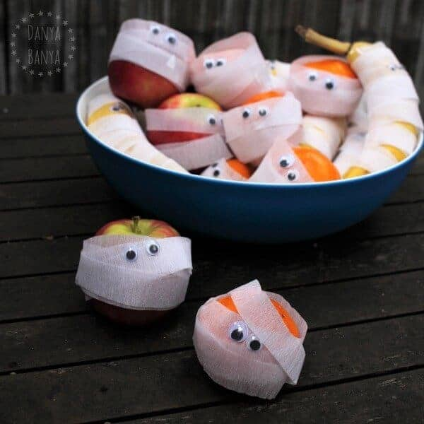 30 Healthy Halloween Party Food Ideas for Kids - Fruit Mummies from Danya Banya