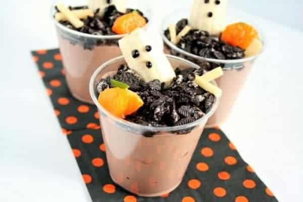 30 Healthy Halloween Party Food Ideas for Kids - Graveyard Ghost Cups from Holley Grainger