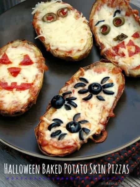 30 Healthy Halloween Party Food Ideas for Kids - Halloween Baked Potato Skin Pizzas from Alidas Kitchen