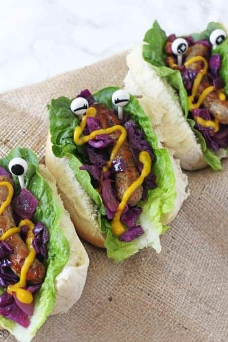 30 Healthy Halloween Party Food Ideas for Kids - Monster Hot Dogs from My Fussy Eater