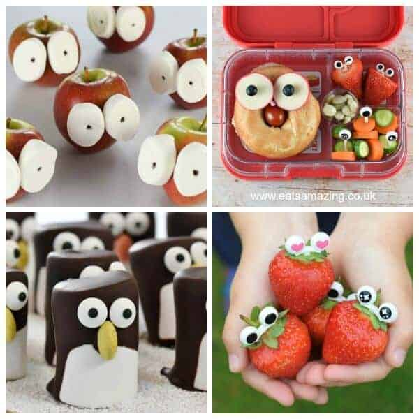 4 Easy ways to add eyes to fun food for kids - cute and easy fun food tutorials from Eats Amazing UK
