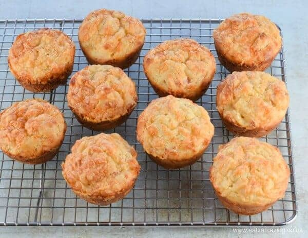 Easy Ham and Cheese savoury lunch box muffins recipe with just 6 ingredients - perfect for kids packed lunches nd picnic food too - Eats Amazing UK