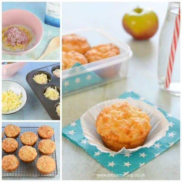 Easy Ham and Cheese savoury muffins recipe with just 6 ingredients - perfect for kids lunch boxes and picnic food - Eats Amazing UK