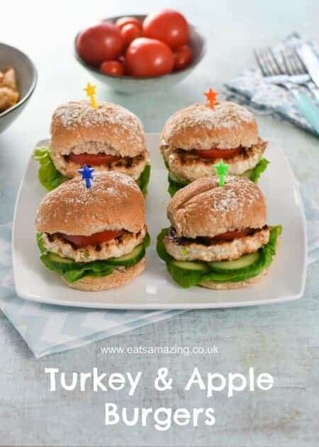 Easy Homemade Turkey and Apple Burgers Recipe - Just 5 ingredients and Kid Friendly - delicious family friendly meal idea from Eats Amazing UK