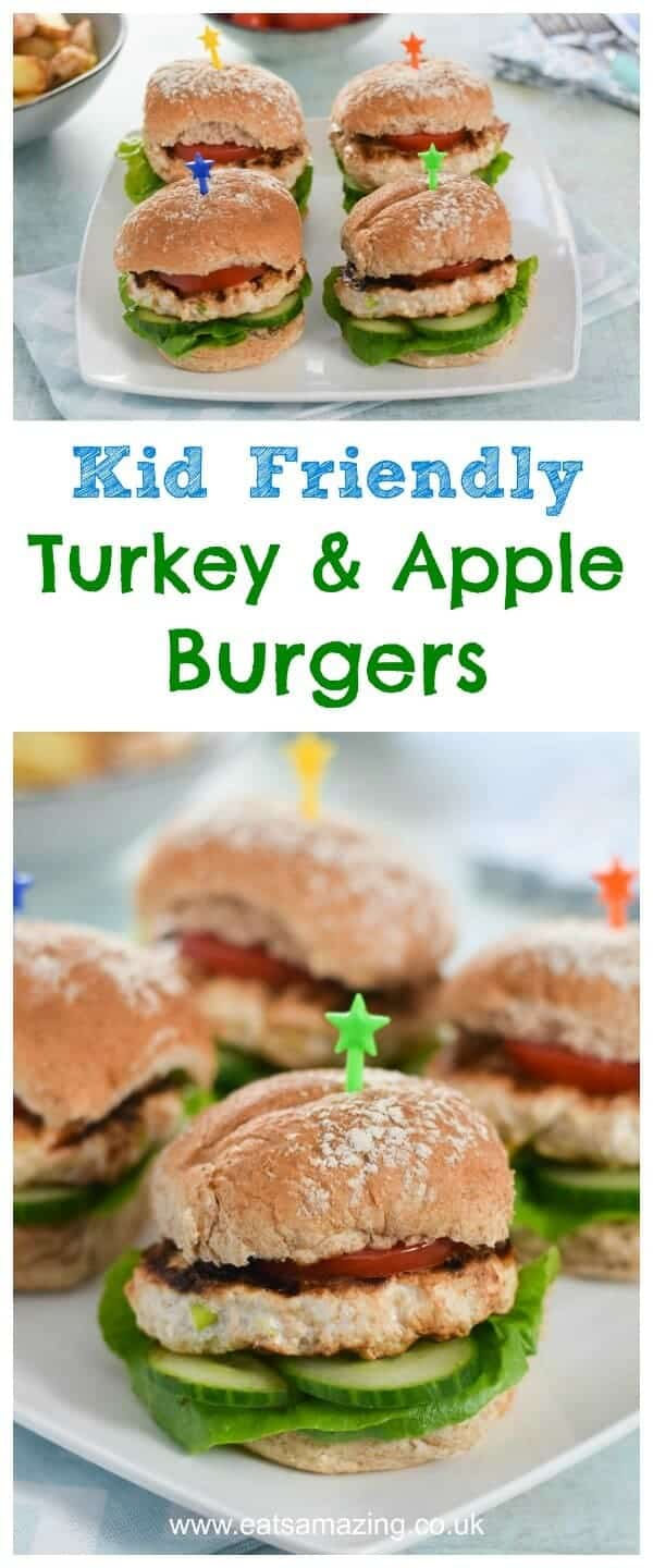 Easy Homemade Turkey and Apple Burgers Recipe - Just 5 ingredients and Kid Friendly - great family friendly meal idea from Eats Amazing UK