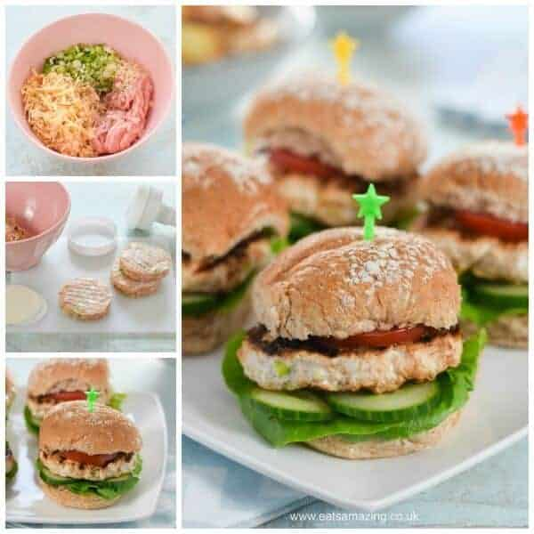 Easy Homemade Turkey and Apple Burgers Recipe - Just 5 ingredients and Kid Friendly - yummy family friendly meal idea from Eats Amazing UK