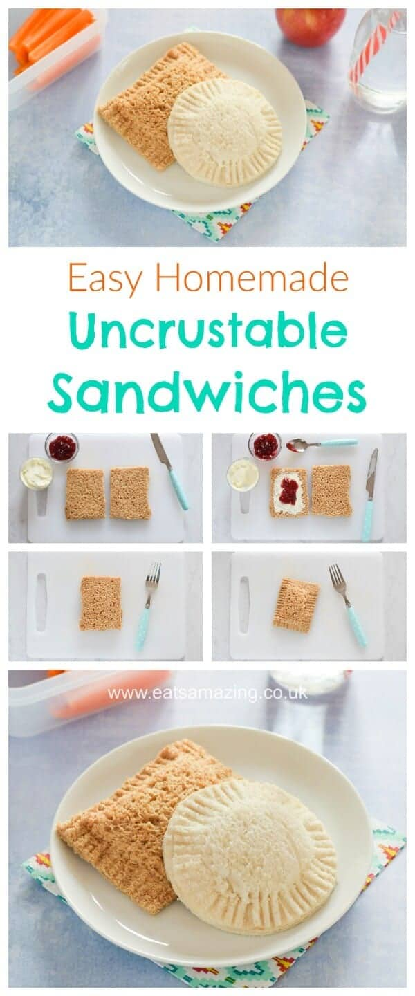 Easy homemade uncrustables pocket sandwiches - fun food for kids - great for school lunch boxes and bento boxes - Eats Amazing UK