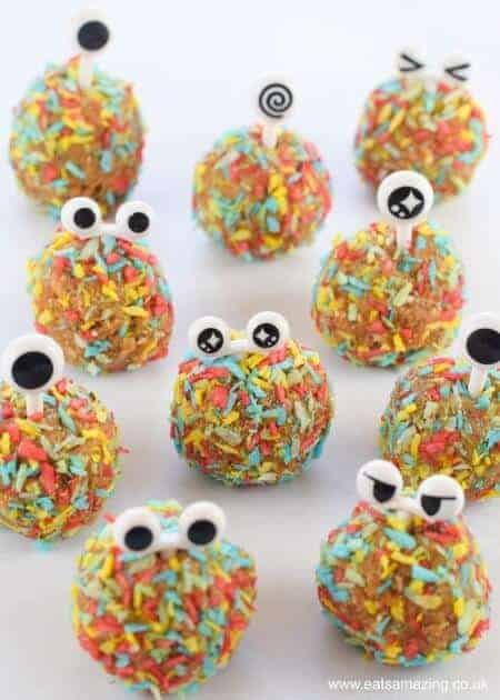 Easy monster energy balls recipe - cute and healthy snack for kids - vegan nut free gluten free and dairy free - fun food for kids from Eats Amazing UK