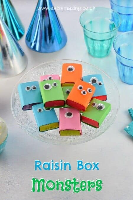 Easy raisin box monsters - this fun healthy snack for kids is perfect for party food and popping in packed lunches - fun food for kids from Eats Amazing UK