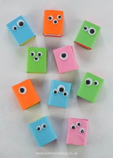 Easy raisin box monsters - this fun healthy snack for kids is perfect for party food and school lunch boxes too - fun food for kids from Eats Amazing UK