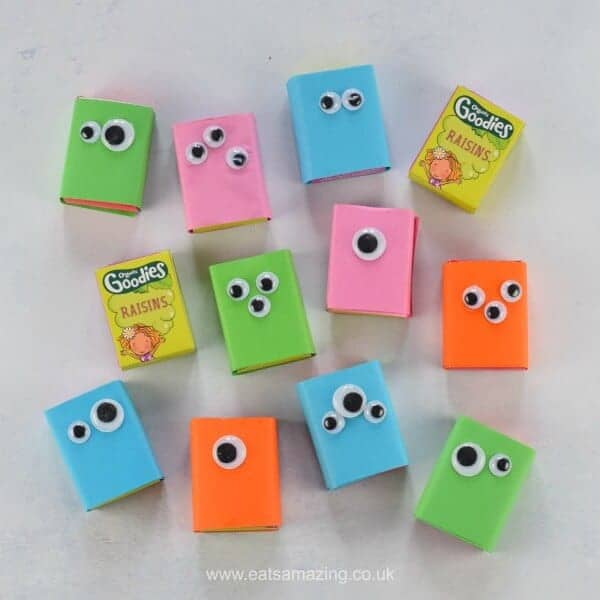 How to make easy raisin box monsters - this fun healthy snack for kids is perfect for party food and school lunch boxes too - fun food for kids from Eats Amazing UK