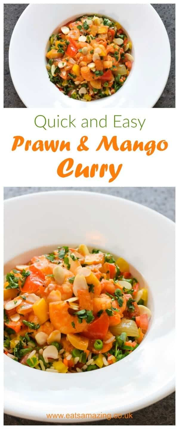 Quick and Easy Prawn and Mango Curry recipe - a gorgeous mild kid friendly Actifry curry that makes the perfect family friendly meal - Eats Amazing UK