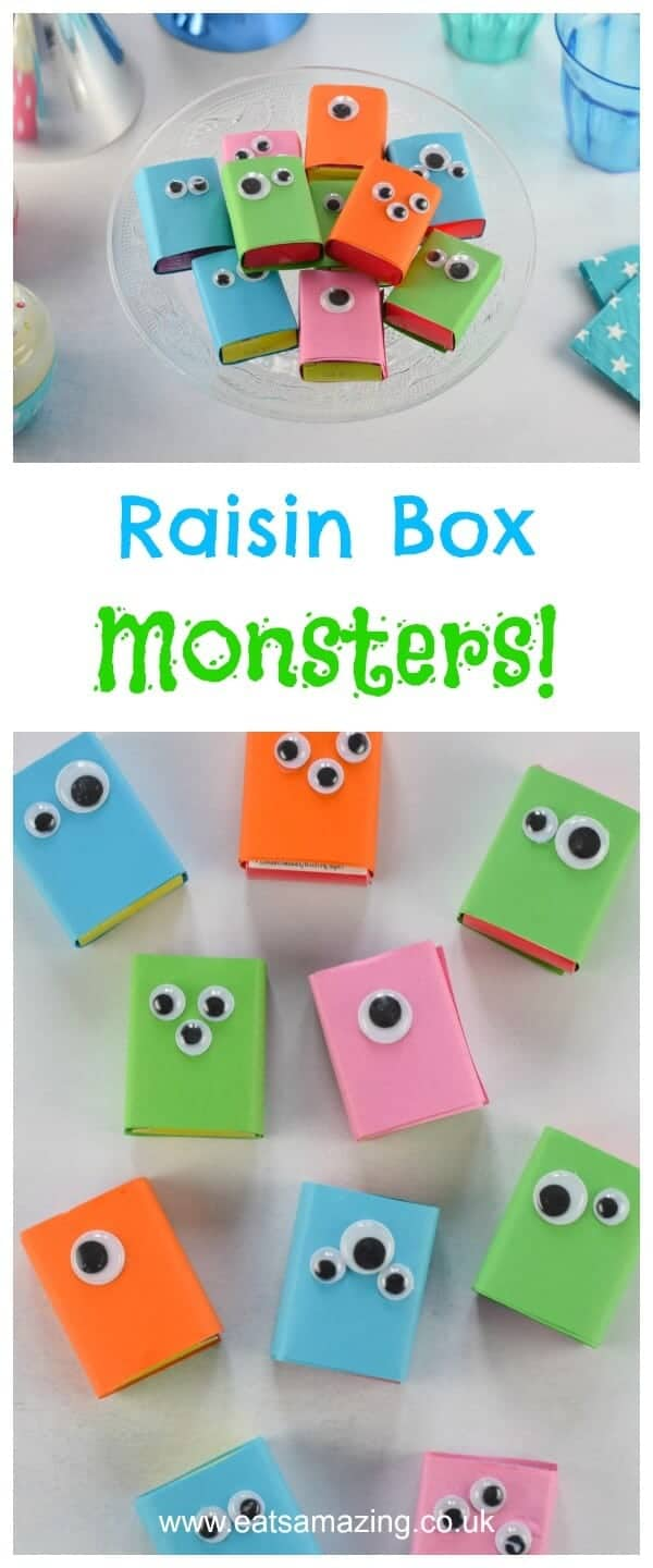 Quick and easy raisin box monsters - this fun edible craft for kids is perfect for party food snacks and school lunch boxes - fun food for kids from Eats Amazing UK