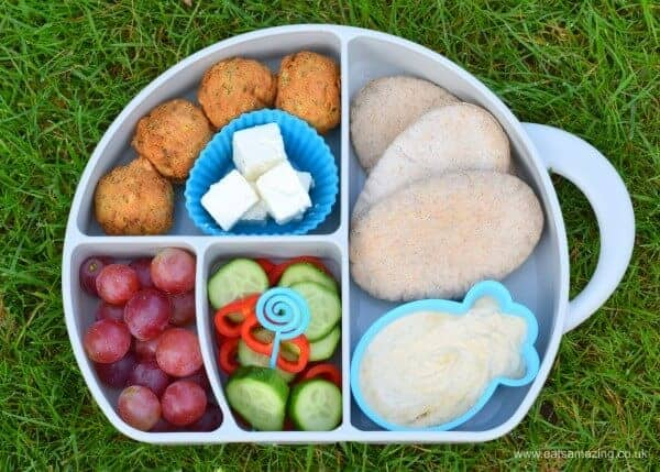 Quick, easy and healthy packed lunch idea for kids inspired by Ancient Greece - fun bento box from Eats Amazing UK