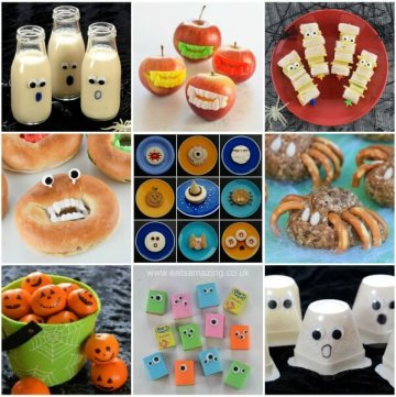 30 Healthy Halloween Party Food ideas for kids - these fun Halloween recipes are all quick easy and perfect for a spooky spread - Eats Amazing