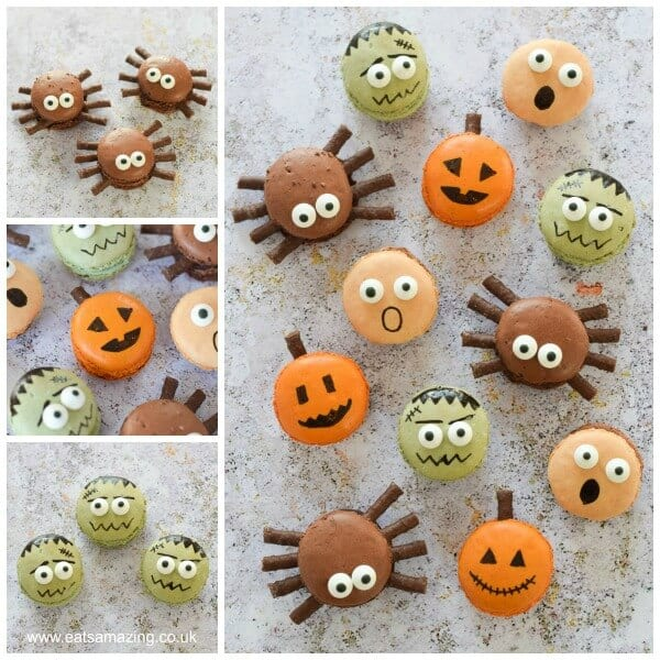 Cute Halloween Macarons - perfect fun food dessert for Halloween party food - with pumpkin spider frankenstein and screaming macaron designs