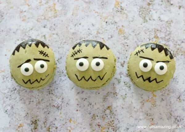 Cute and easy Frankenstein Monster Macarons fun food tutorial from Eats Amazing UK - fun spooky food for Halloween