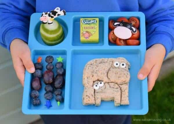 Cute and easy cow themed lunch for kids - made using the new Lunch Punch Farm sandwich cutters from the Eats Amazing UK Bento Shop