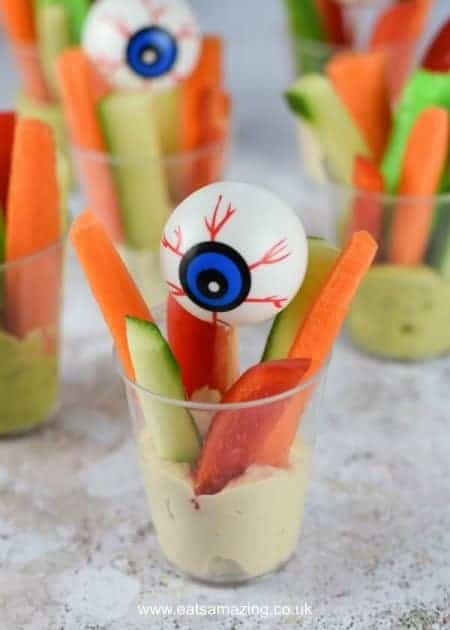 Easy Creepy Crudite Cups - Healthy and fun allergy friendly Halloween party food idea for kids - Eats Amazing UK