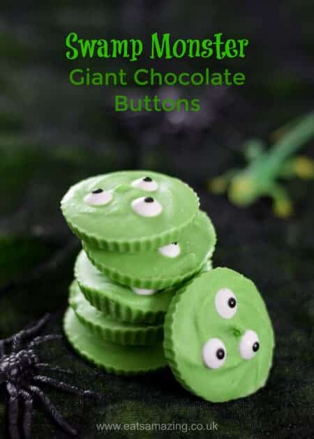 Easy Swamp Monster Giant Chocolate Buttons - just 3 ingredients for this fun Halloween treat - easy recipe for kids