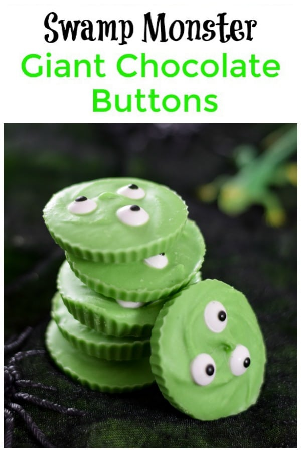 Easy Swamp Monster Giant Chocolate Buttons recipe - just 3 ingredients for this fun Halloween treat for kids #EatsAmazing #Halloween #HalloweenFood #Halloweenparty #partyfood #halloweenfun #kidsfood #funfood #easyrecipe #halloweenrecipes