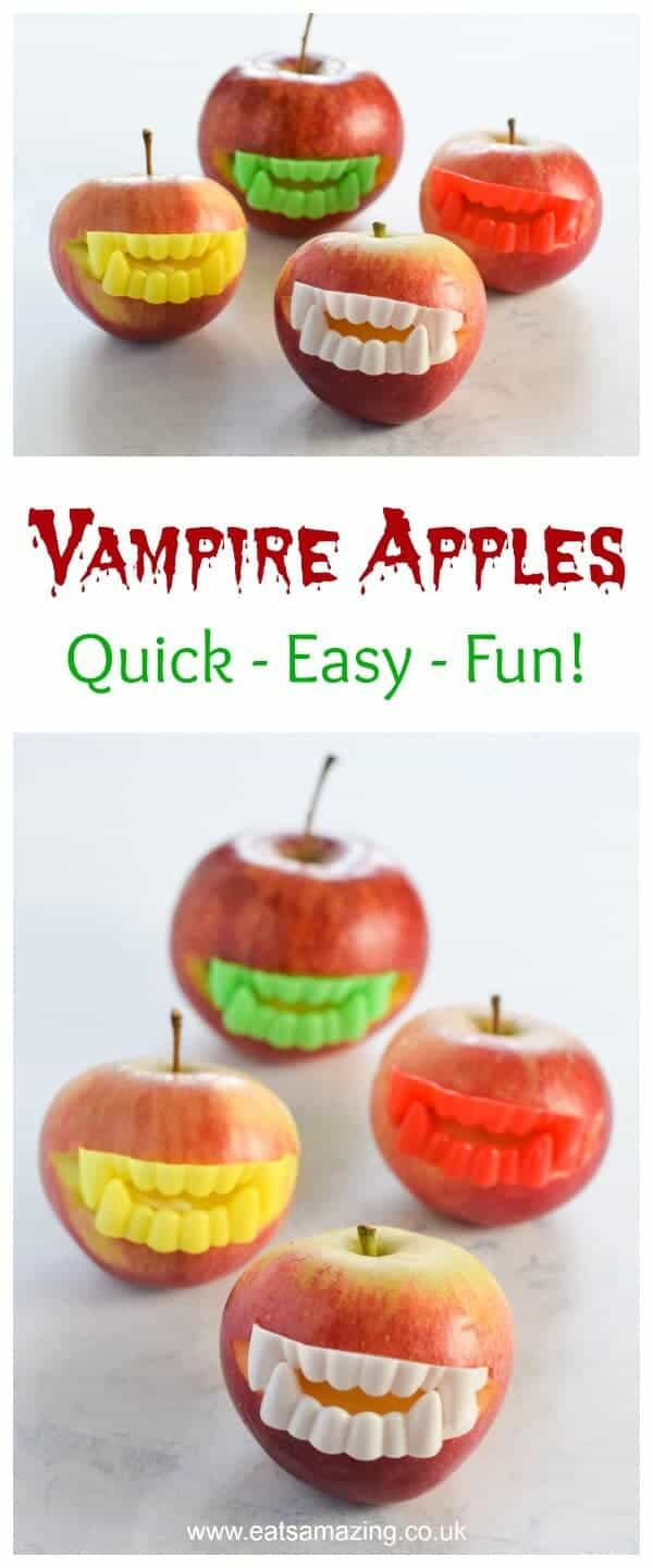 Fun Halloween Party Food Idea - Easy Vampire Apples - kids will love this fun and healthy Halloween food idea - Eats Amazing UK