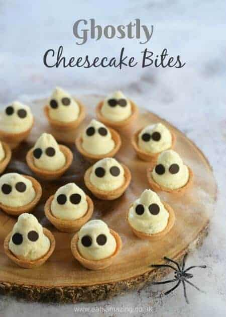 Fun Halloween dessert - cute Ghostly mini cheesecake bites recipe - great for Halloween party food - Eats Amazing UK