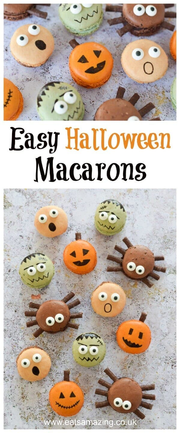 Fun and Easy Halloween Macarons - perfect dessert for Halloween party food - with pumpkin spider frankenstein and screaming macaron designs