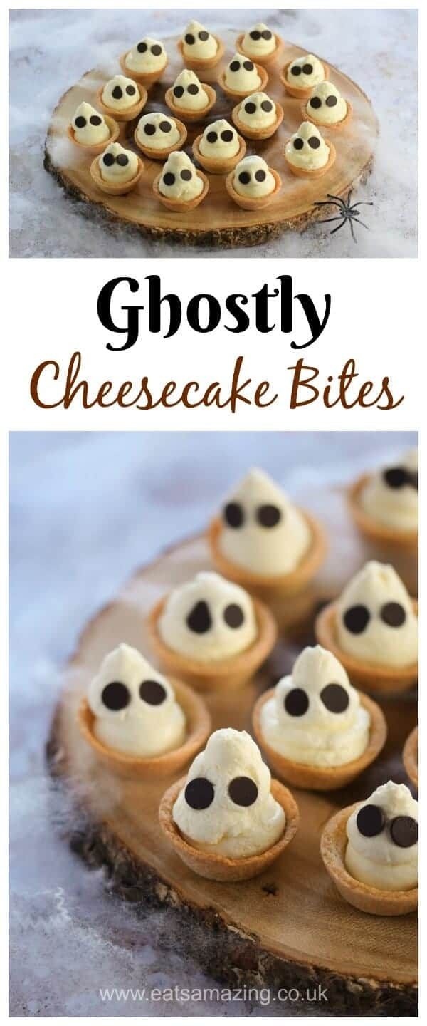 Fun and easy Halloween dessert - cute Ghostly mini cheesecake bites recipe - great for Halloween party food - Eats Amazing UK