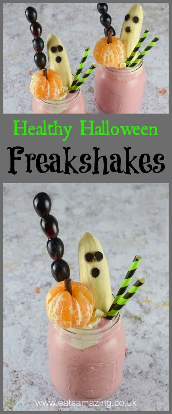 Fun and easy Healthy Halloween Freakshake recipe with Spooky Fruit Toppers - with video tutorial -Eats Amazing UK