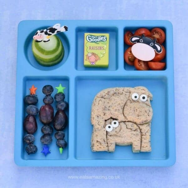 Fun and easy cow themed lunch for kids - made using the new Lunch Punch Farm sandwich cutters from the Eats Amazing UK Bento Shop