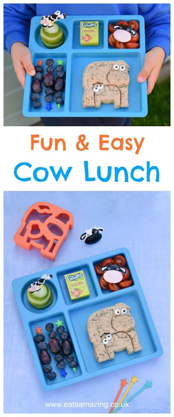 Fun cow themed lunch for kids - made using the new Lunch Punch Farm sandwich cutters from the Eats Amazing UK Bento Shop #kidsfood #funfood #lunchpunch