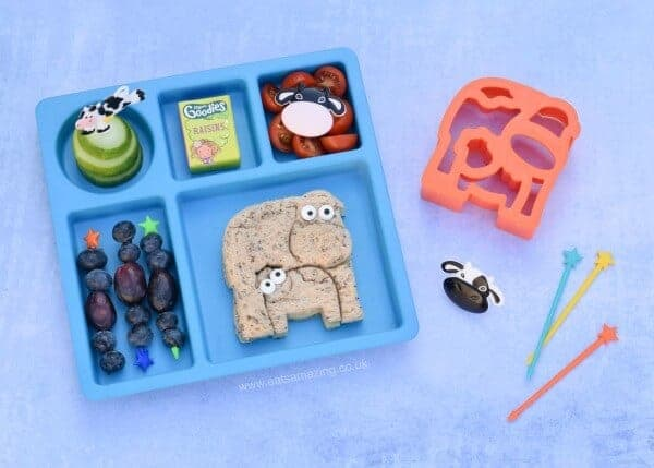 Fun cow themed lunch idea for kids made using the new Lunch Punch Farm sandwich cutters from the Eats Amazing UK Bento Shop