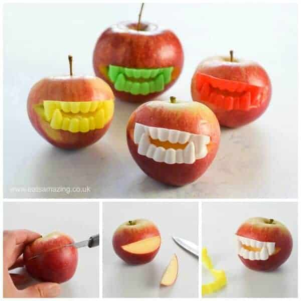 Funny Halloween Party Food Idea - Easy Vampire Apples - kids will love this fun and healthy Halloween food idea - Eats Amazing UK