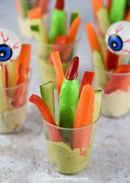 How to Make Easy Creepy Crudite Cups - Healthy and fun allergy friendly Halloween party food idea for kids - Eats Amazing UK