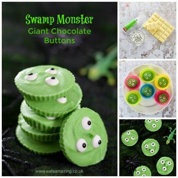 How to make Giant Swamp Monster Chocolate Buttons - fun Halloween treat for kids from Eats Amazing UK