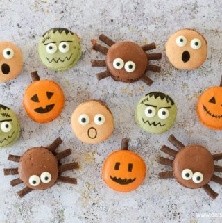 How to make Halloween macarons - fun designs including pumpkin spiders frankenstein and screaming macarons - Eats Amazing