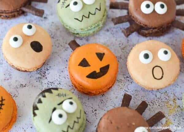 How to make Halloween macarons - fun spooky designs including pumpkin spiders frankenstein and screaming macarons - Eats Amazing