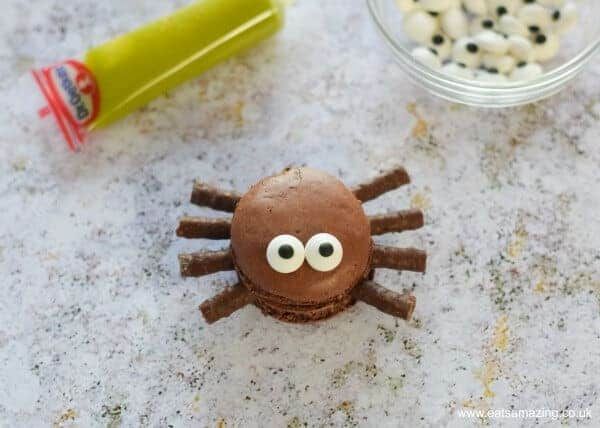 How to make Macaron Spiders - fun food idea for Halloween from Eats Amazing UK - Finished Spider
